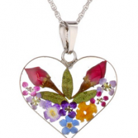 Sterling Silver Pressed Flower Pendant For $29.99 Shipped