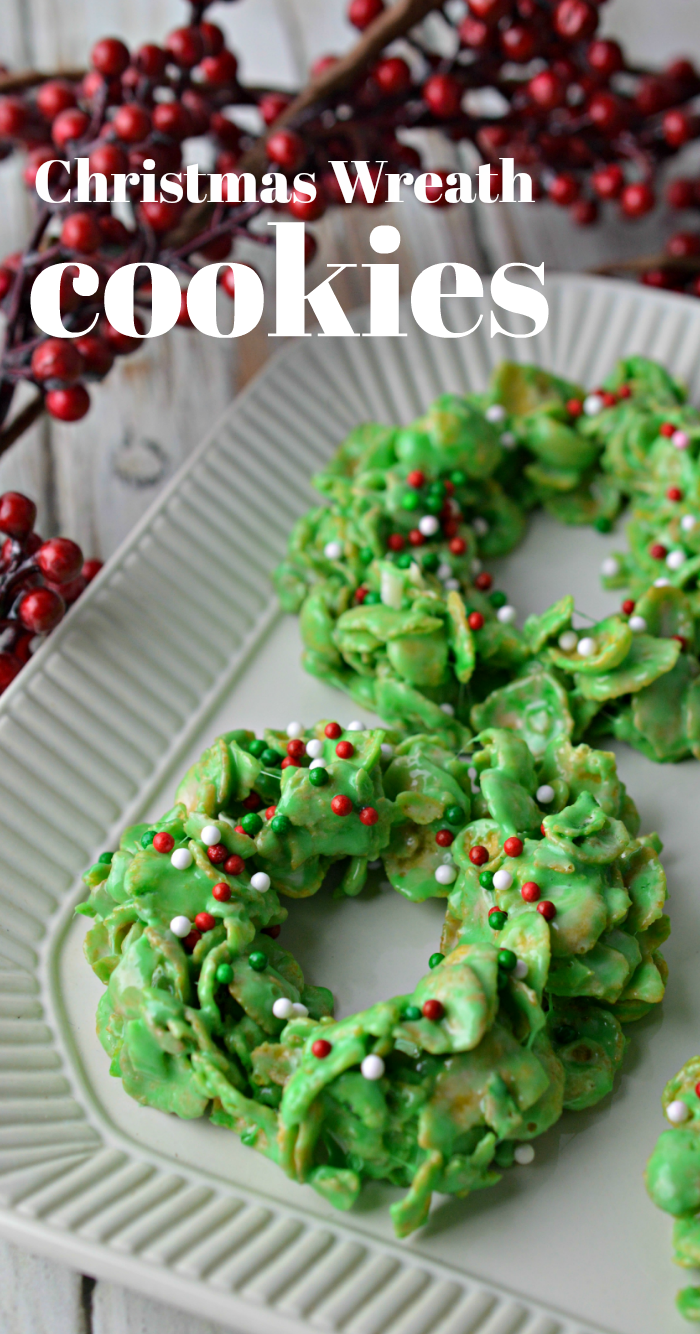 Wreath Cookies recipe made with cornflakes