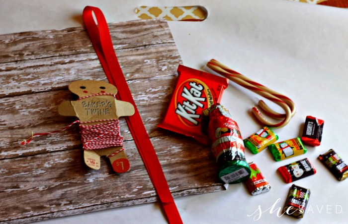 Supplies needed to make a Candy Cane Santa Sleigh out of candy