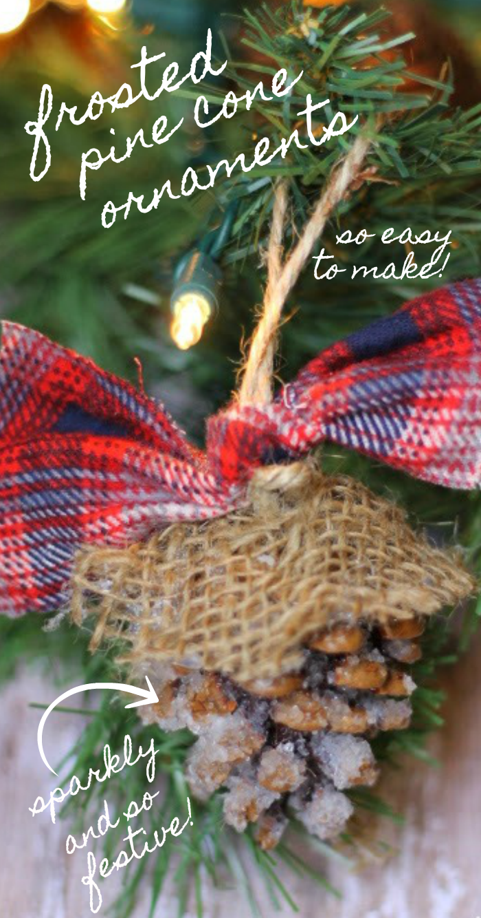 frosted pine cone ornaments