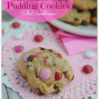 Valentine Chocolate Chip Pudding Cookies