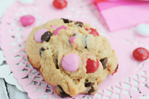 Valentine Cookies Made with M&Ms