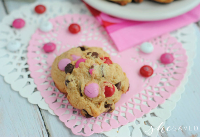 Valentine's Day Chocolate Chip Cookies with M&M Candy