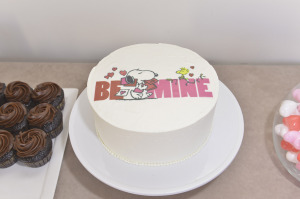 Actress Francesca Capaldi and friends celebrate Valentine's Day Themed Party with Peanuts Characters Snoopy And Belle