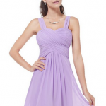 Ever Pretty Ruffles Padded Chiffon Knee-length Dress