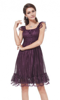 Lace Empire Cap Sleeve Party Dress