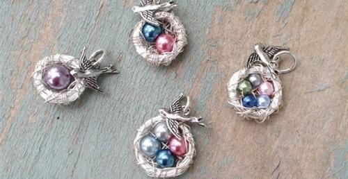 Mama Bird Wire Nest Necklace