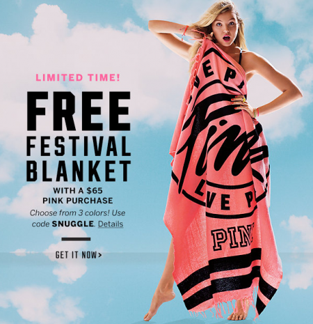 Victorias Secret FREE Blanket With Pink Purchase SheSaved
