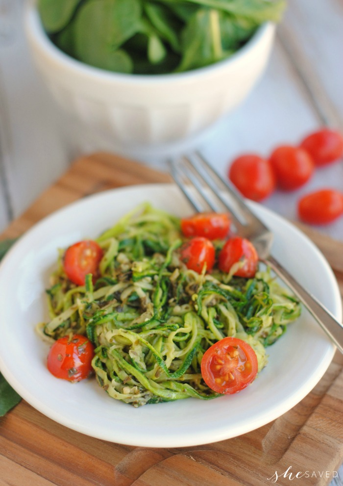 Pesto Zoodles made with Zucchini