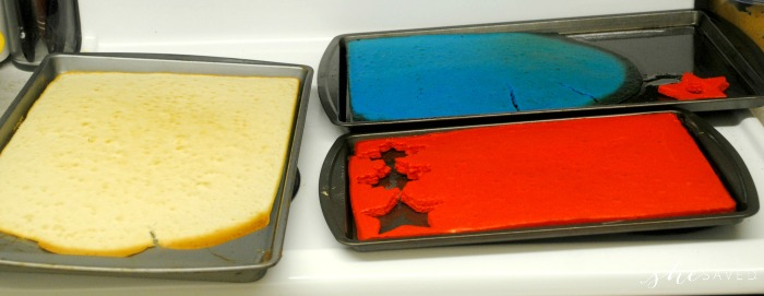 Colored Cake Layers for 4th of July Cakes