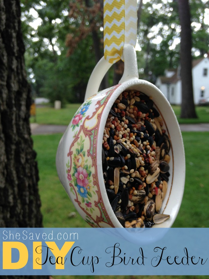 This adorable upcycled Tea Cub Bird feeder is not only easy to make, but darling hanging in your trees!