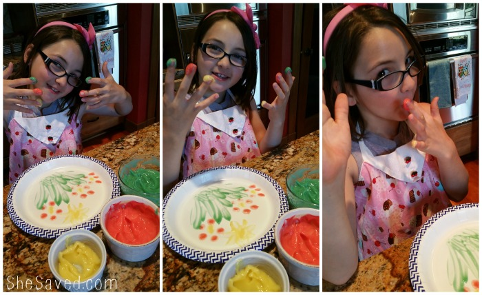 Edible Finger Paints are the perfect way to combine art time and snack time!