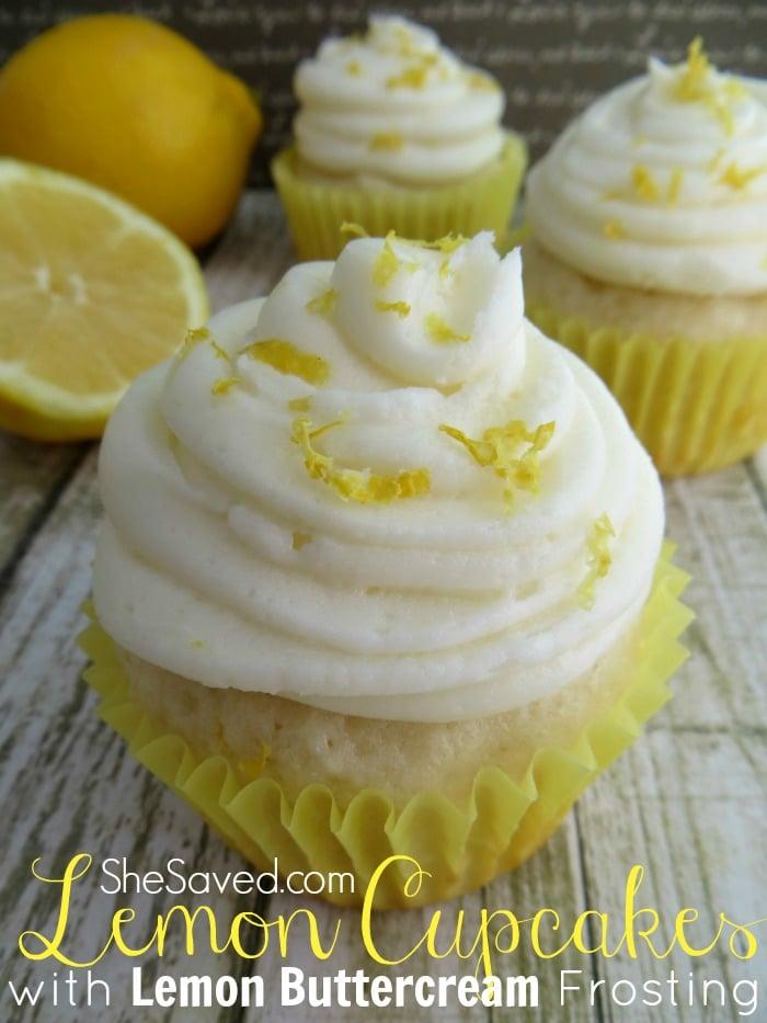 Lemon Cupcakes with Lemon Buttercream Frosting - SheSaved®