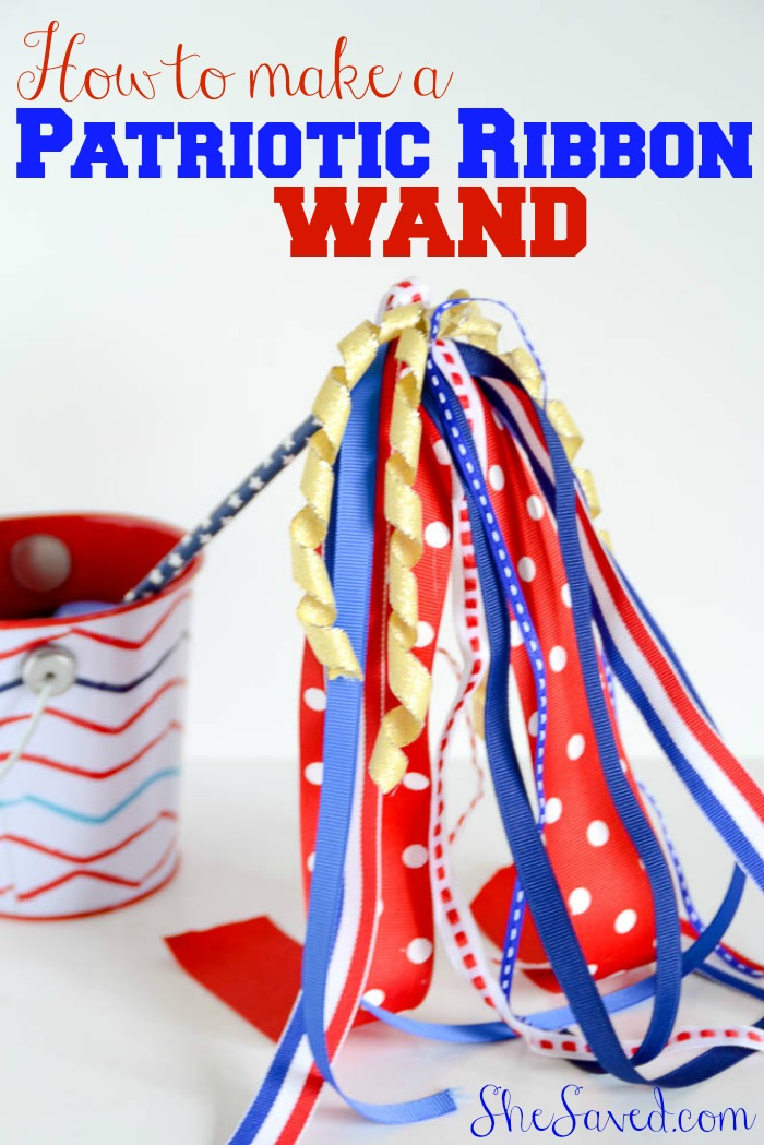 Make this fun and easy 4th of July Ribbon Wand! Great for 4th of July table decor or even something fun to wave at the 4th of July parade!