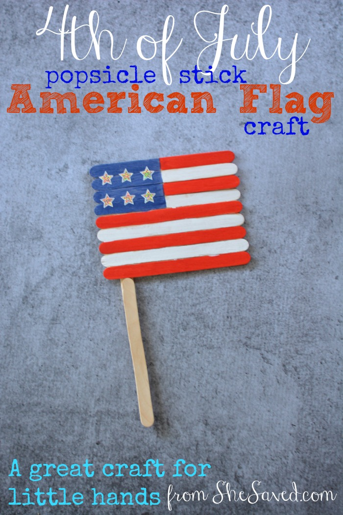 4th of july project  popsicle stick flag craft