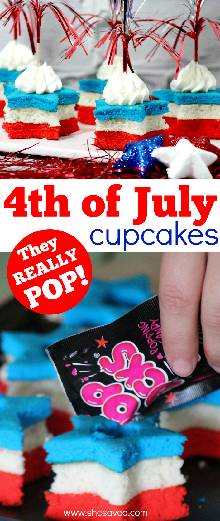 4th of July firework cupcake recipe with Pop Rocks that really pops!