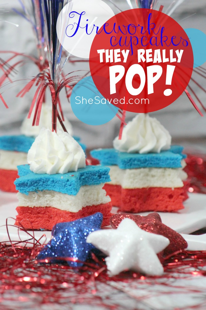4TH OF JULY cupcakes made with POP ROCKS so these fun and festive little cakes REALLY pop!!