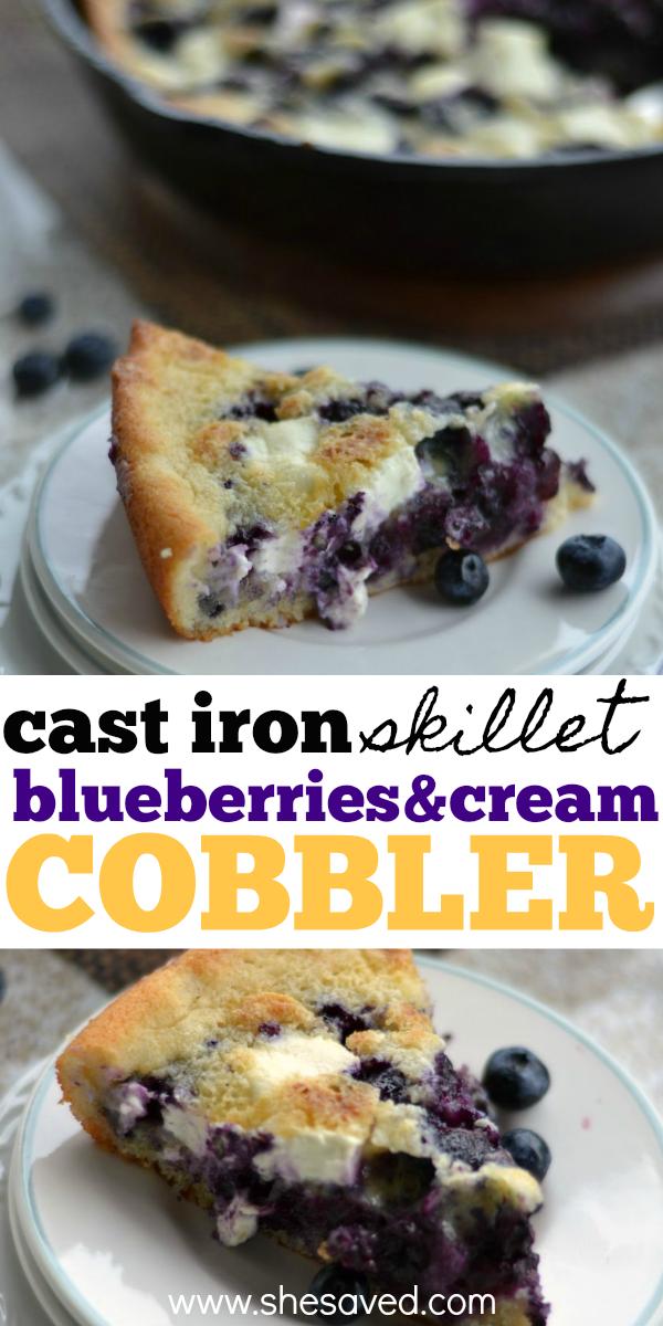 This Cast Iron Skillet Blueberry Cobbler recipe is an amazing dessert idea!