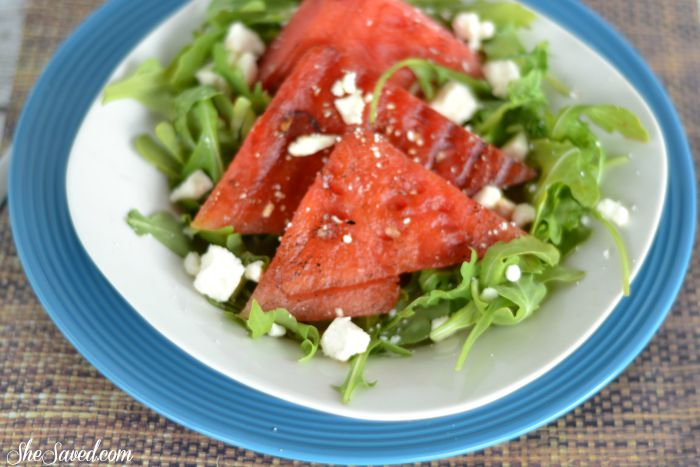 This Grilled Watermelon Salad is wonderful for summer lunches or dinner sides. Make sure to pin it for your next grilling event!