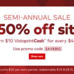 Vistaprint Semi-Annual Sale Save Up To 50% Off