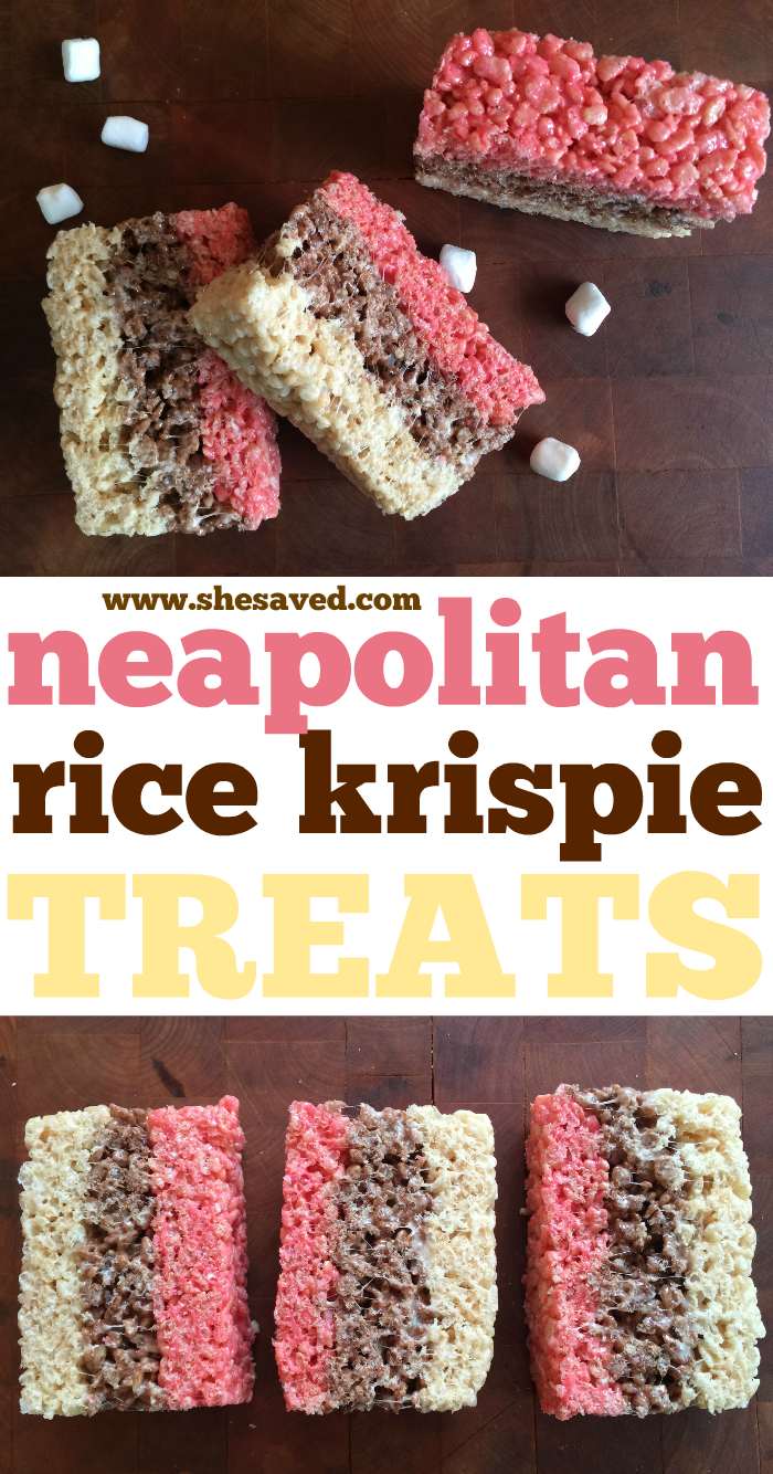 Easy Neapolitan Treats made with Rice Krispies