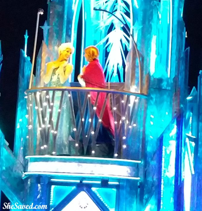 Elsa and Anna are looking magical in the Disneyland Paint the Night Parade!