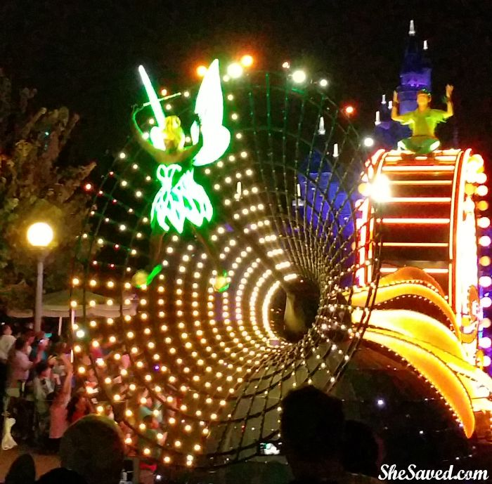 No Disney parade would be complete without Tinker Bell! Here she is in the Disneyland Paint the Night Parade!