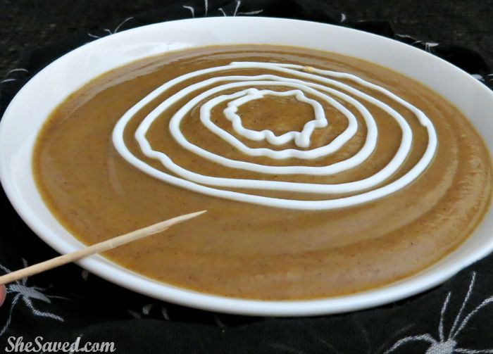 Make spiderwebs in your soup to create a fun and spooky spider soup this halloween!
