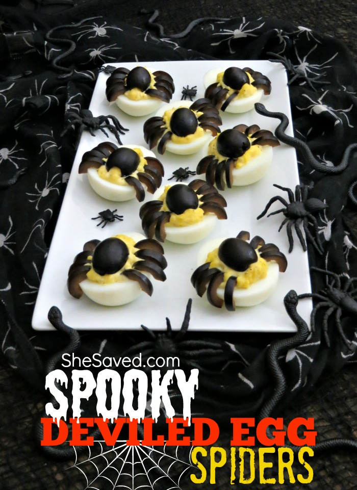 Looking for fun eats for your Halloween gathering? These Spooky Deviled Egg Spiders are easy and will be the hit of your gathering!