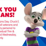 FREE Pizza Today at Chuck E Cheese for Veterans!