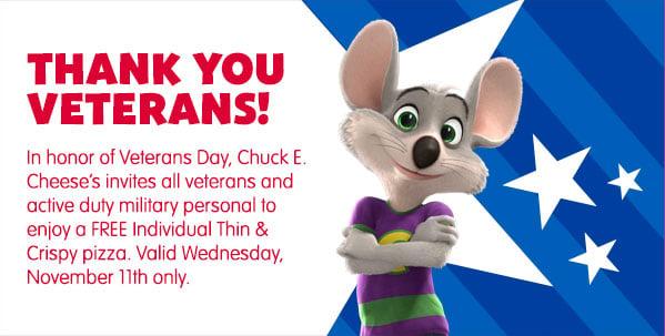Veterans Day Chuck E Cheese