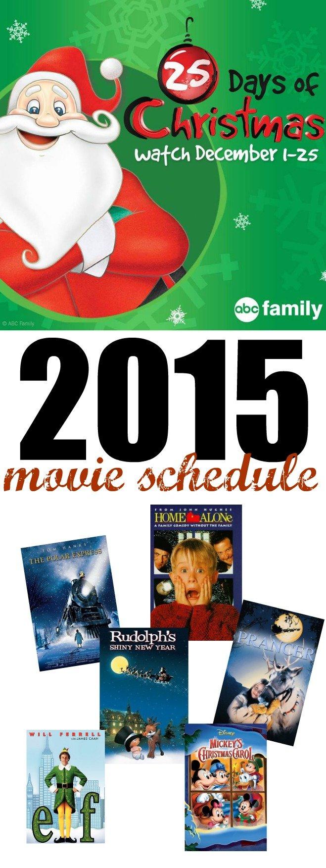 Abc 25 Days Of Christmas 2017 >> 2015 ABC 25 Days of Christmas Movie Schedule - SheSaved®