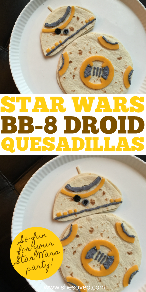 BB8 Droid quesadillas are the perfect lunch for your Star Wars themed event or party!