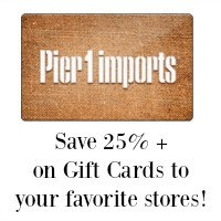 FREE $5 Credit + $5 OFF = HOT Buys on Gift Cards (25% Off Pier 1 Card! + MORE)