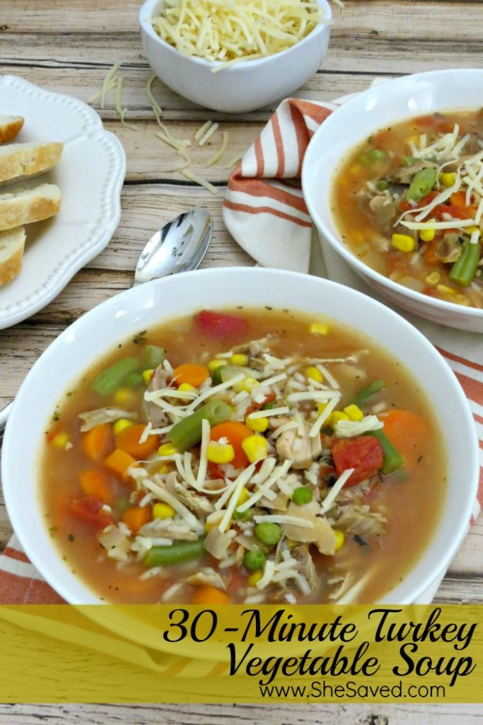 Looking for Thanksgiving Leftover ideas? They this easy 30-minute Turkey Vegetable Soup! It's easy and delicious!