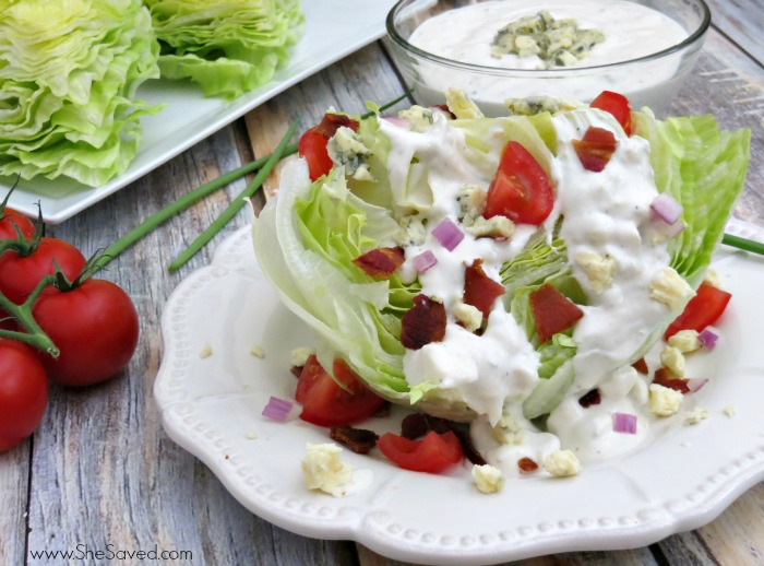 This Wedge Salad Recipe with homemade Blue Cheese Dressing goes perfect with just about any meal!