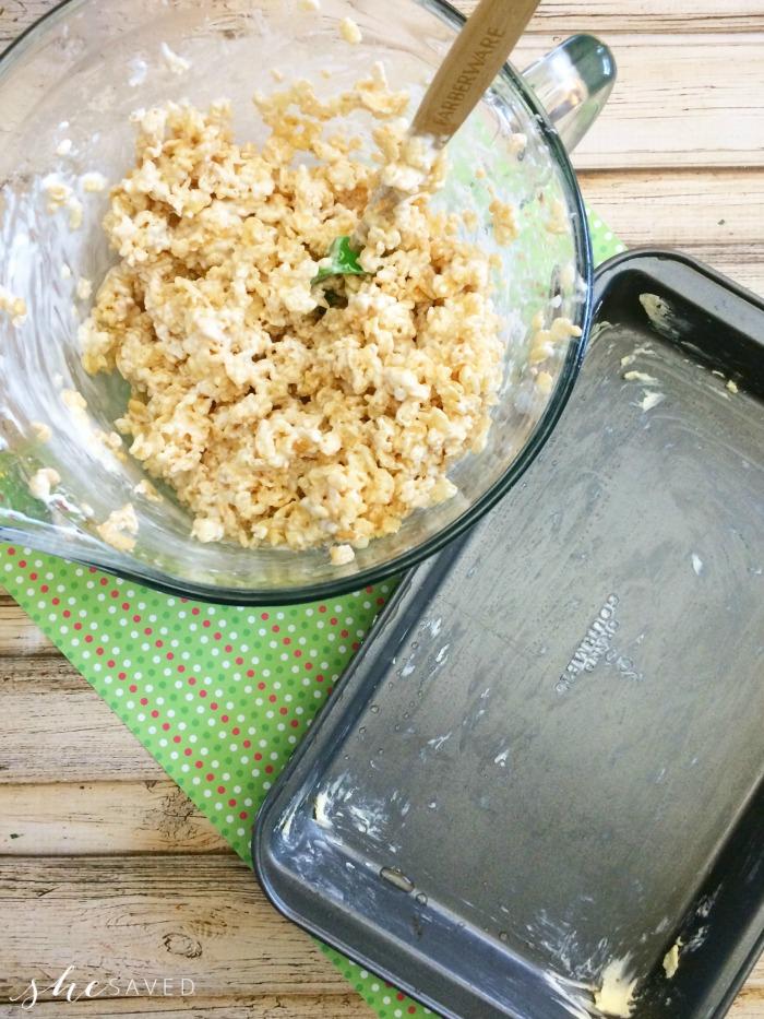 Buttering Rice Krispy Pan