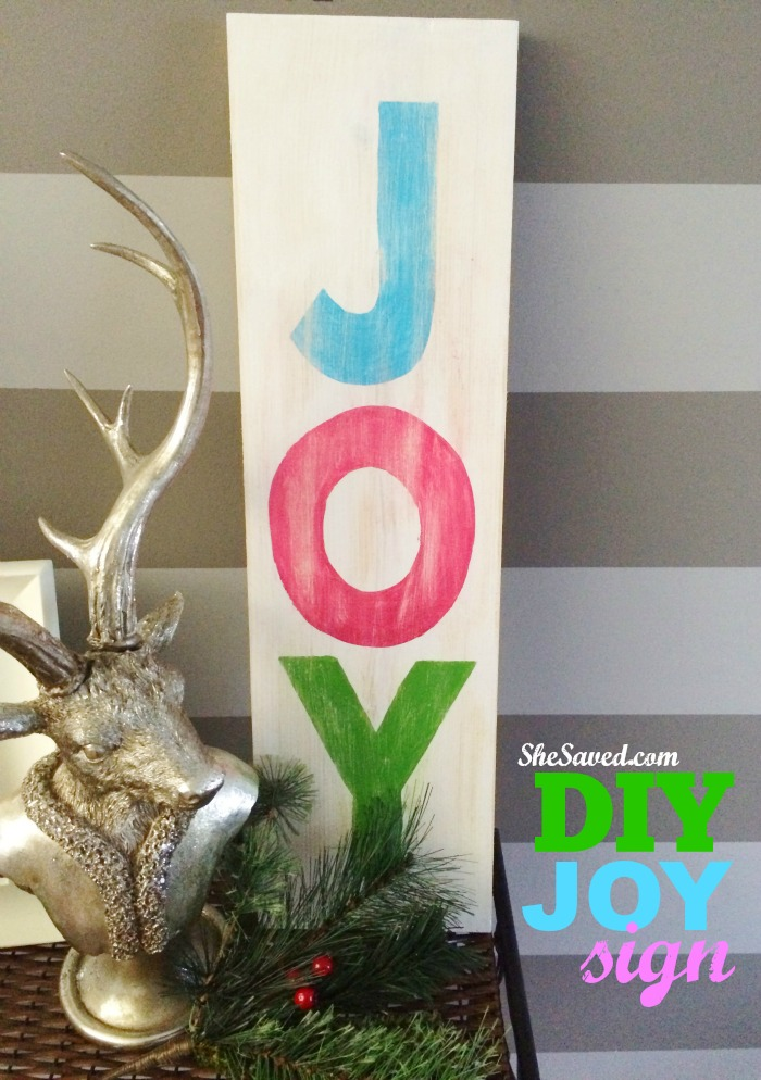 This Homemade DIY Joy Sign is so easy to make and yet will add so much to your holiday decor! It is also a great craft product for gift giving!