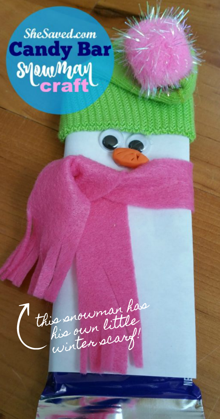 Fun snowman candy craft made from a Nestle candy bar!