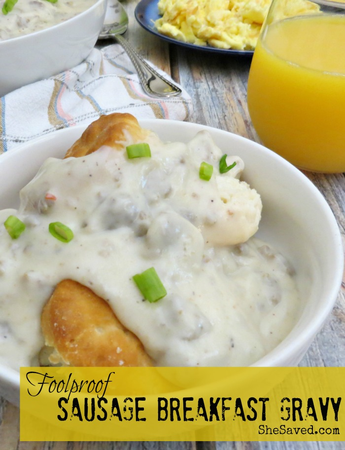 If you have been looking for a foolproof sausage breakfast gravy recipe then I have you covered! This sausage gravy is a hit with any breakfast and makes for great leftovers too!