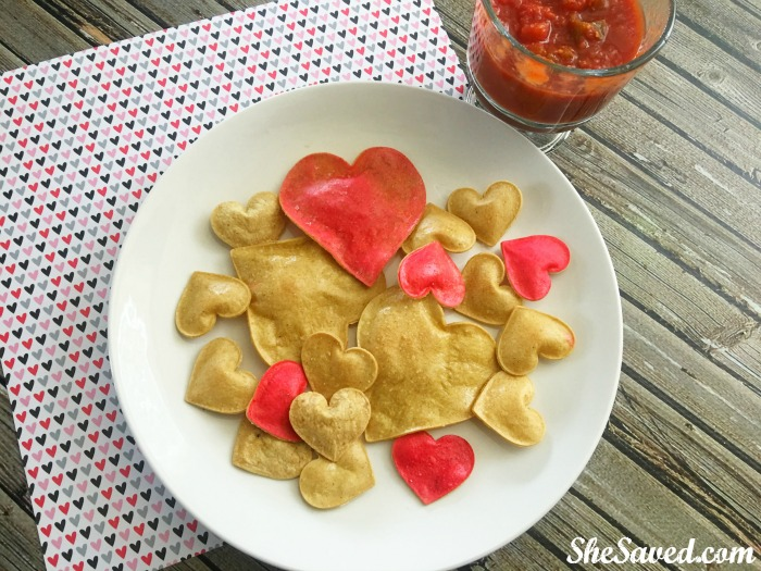 These heart tortilla chips are so much fun to make and ever funner to eat! The perfect snack idea for Valentine's Day!