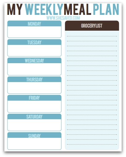 Free Weekly Meal Planning Printable  Shesaved