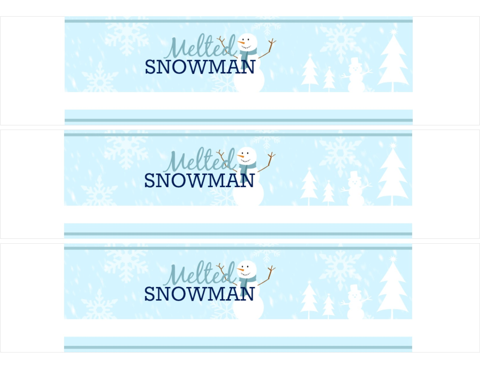 FREE Printable: Melted Snowman Water Bottle Labels - SheSaved®