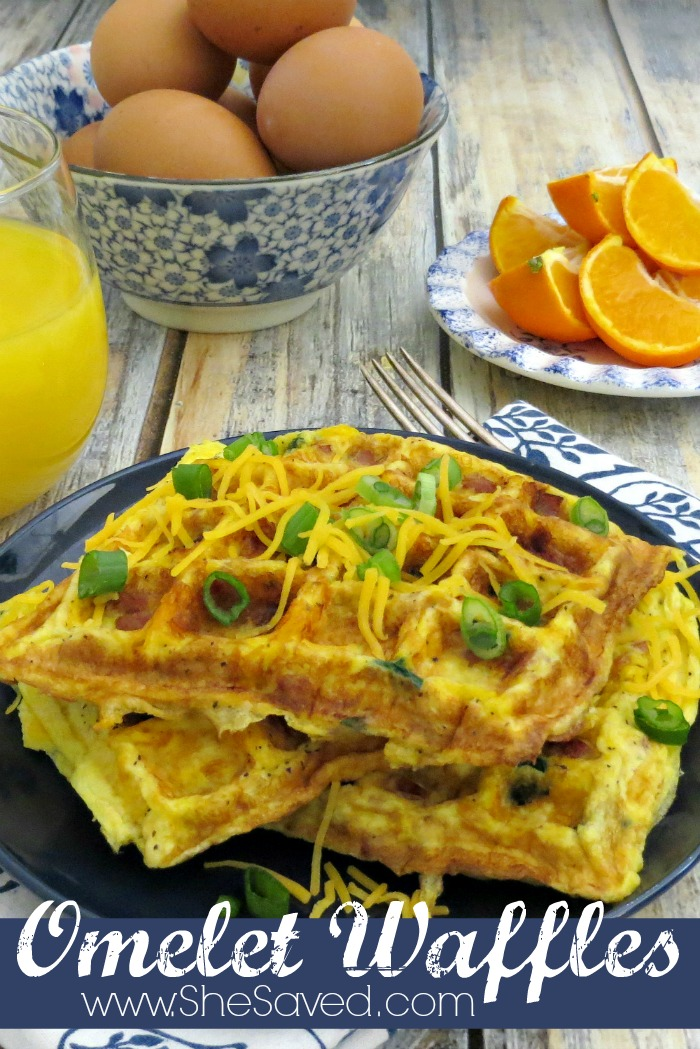 The ultimate Mom breakfast hack! My Omelet Waffle recipe is such a great way to make a quick and yummy breakfast with the hassle!