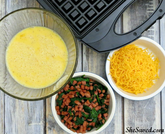 Super easy and a great way to make omelets without the mess! Try my waffle omelet recipe!