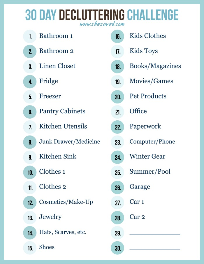 photo regarding 30 Day Challenge Printable titled Free of charge 30 Working day Decluttering Problem Printable! - SheSaved®