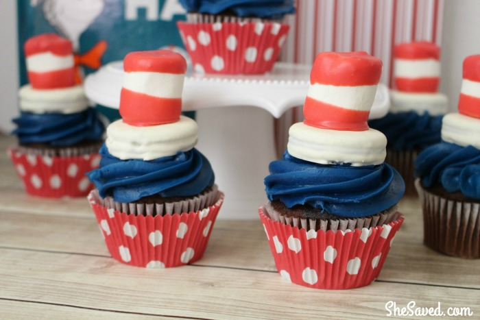 These darling Cat in the Hat Cupcakes will be a hit at your Dr. Seuss celebration and they are perfect for National Read Across America Day!
