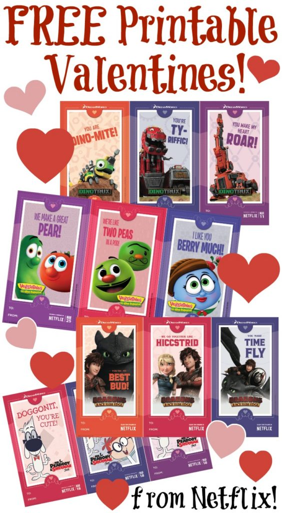 No need to buy cards, print out these fun and free printable Valentines from Netflix featuring Veggie Tales, How to Train Your Dragon, Mr. Peabody and Dinotrux!