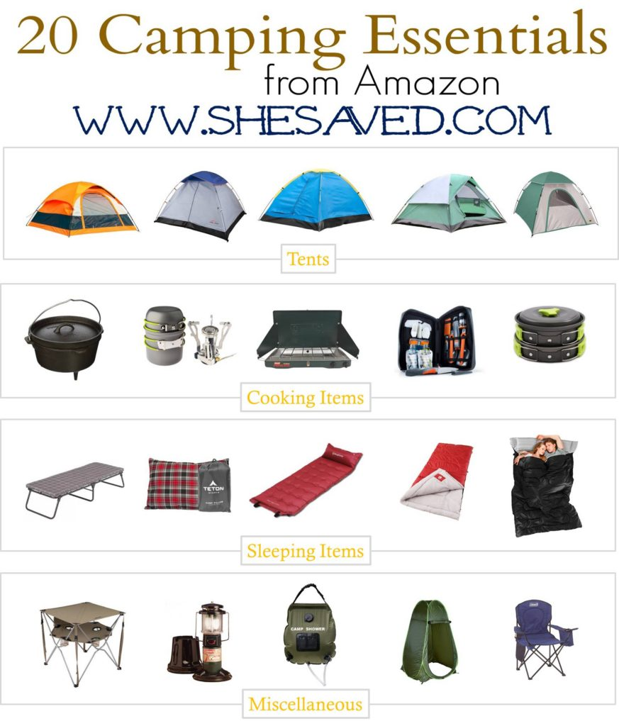 3.27 Round Up - 20 Camping Essentials Under $50 Collage Image SHESAVED