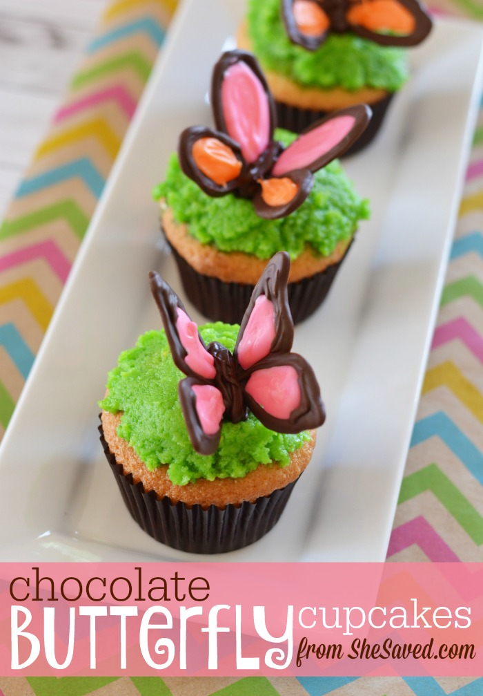 These are so darling and quite easy to make if you follow my Chocolate Butterfly Cupcake recipe. Perfect for spring events, easter desserts or butterfly birthday parties!